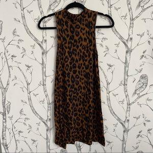 TOPSHOP Leopard Print Shift Dress - SIZE 0